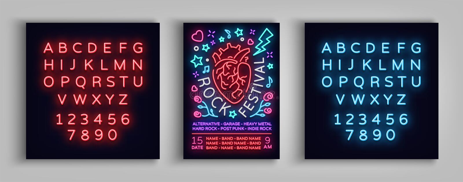 Invitation to Rock Festival. Typography, Poster in neon style, Flyer Design template for rock festival, concert, party royalty free illustration