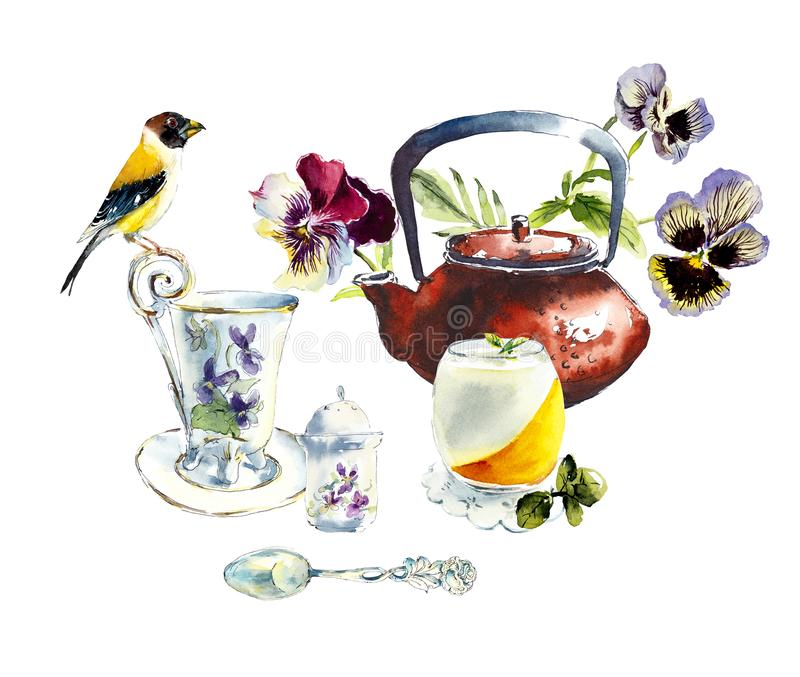 Tea Time. Yellow-billed Grosbeak on a tea drinking. Watercolor hand drawn illustration. stock image