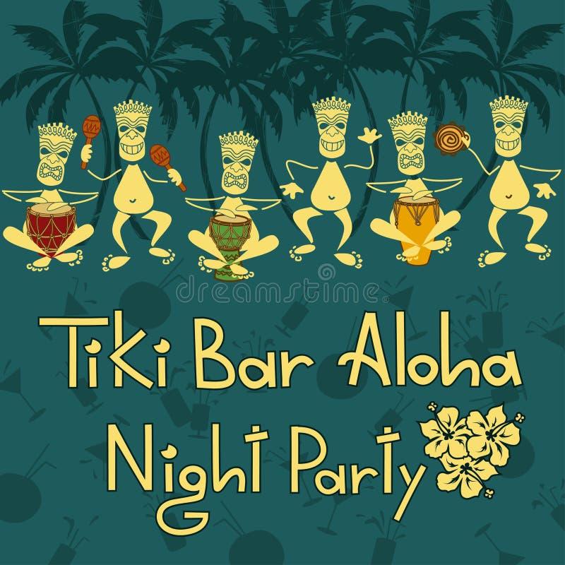 Invitation to Tiki bar night party royalty free illustration