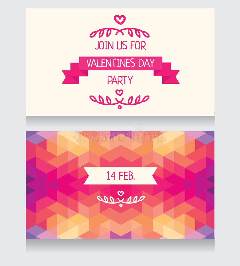 Invitation For Valentine\'s Day Party, Cute Hand Drawn And Geometric ...