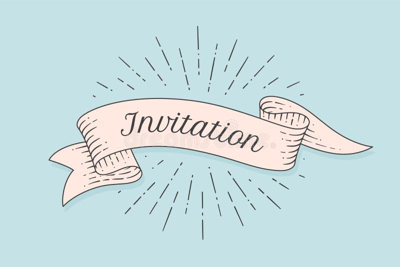 invitation Vieux drapeau de bande illustration libre de droits