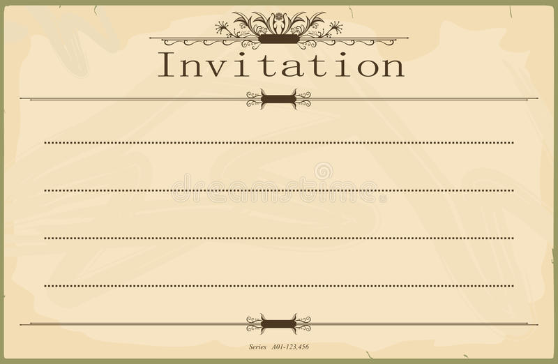 Invitation. Vintage blank invitation in the style of the early 20th century. Standard size aspect ratio. Vector base to add any text and textures. No gradients stock illustration
