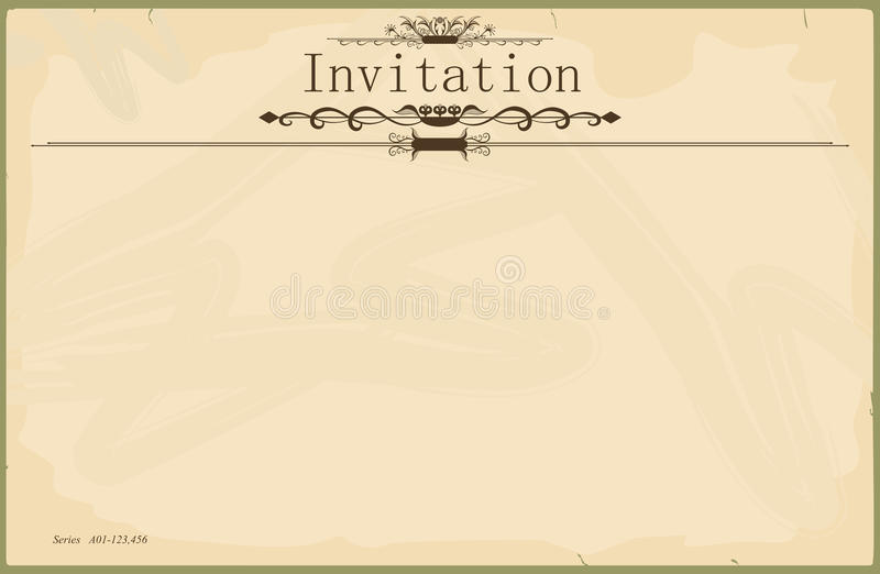 Invitation. Vintage blank invitation in the style of the early 20th century. Standard size aspect ratio. Vector base to add any text and textures. No gradients vector illustration