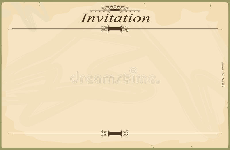 Invitation. Vintage blank invitation in the style of the early 20th century. Standard size aspect ratio. Vector base to add any text and textures. No gradients royalty free illustration