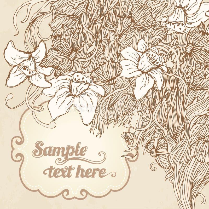 Invitation vintage floral card background stock illustration
