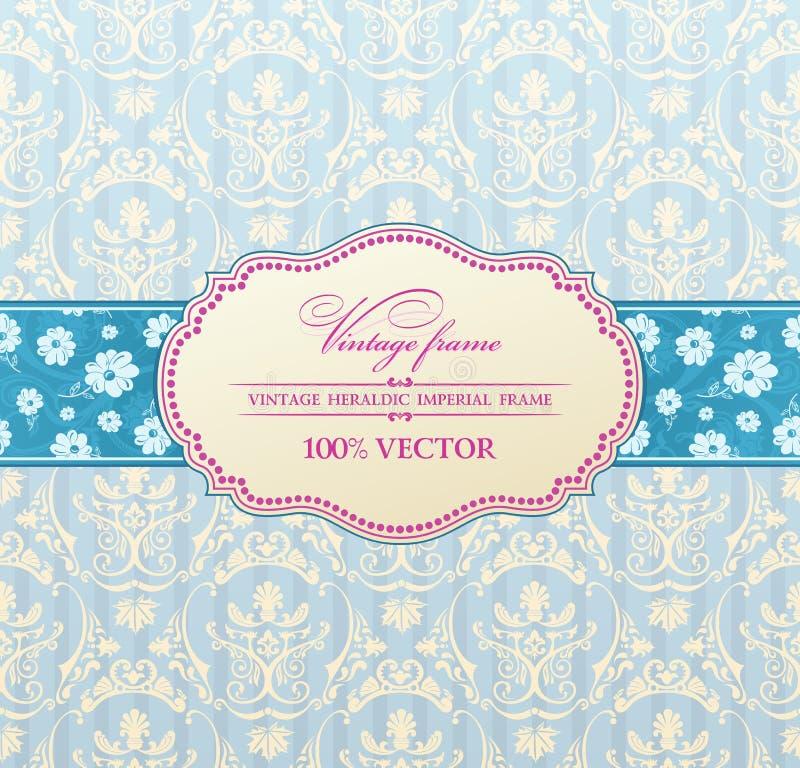 Free Invitation Vintage Label Flower Frame Blue Stock Image - 19785311