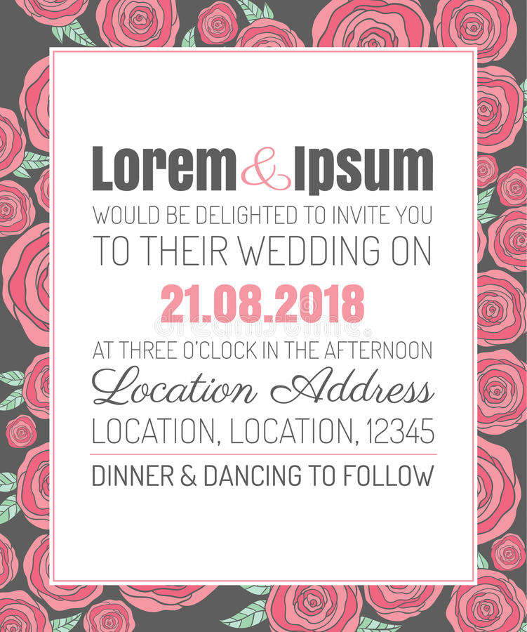 Trendy Wedding Invitation Cards: Invitation Wedding Card With Current Trendy Flowers Vector