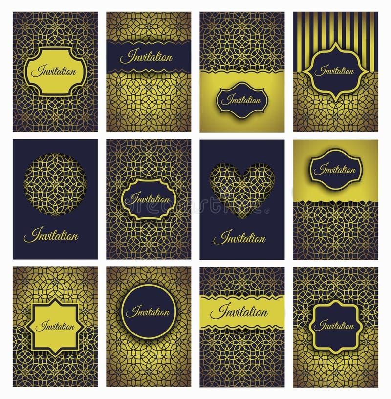 Invitations d'or réglées illustration stock