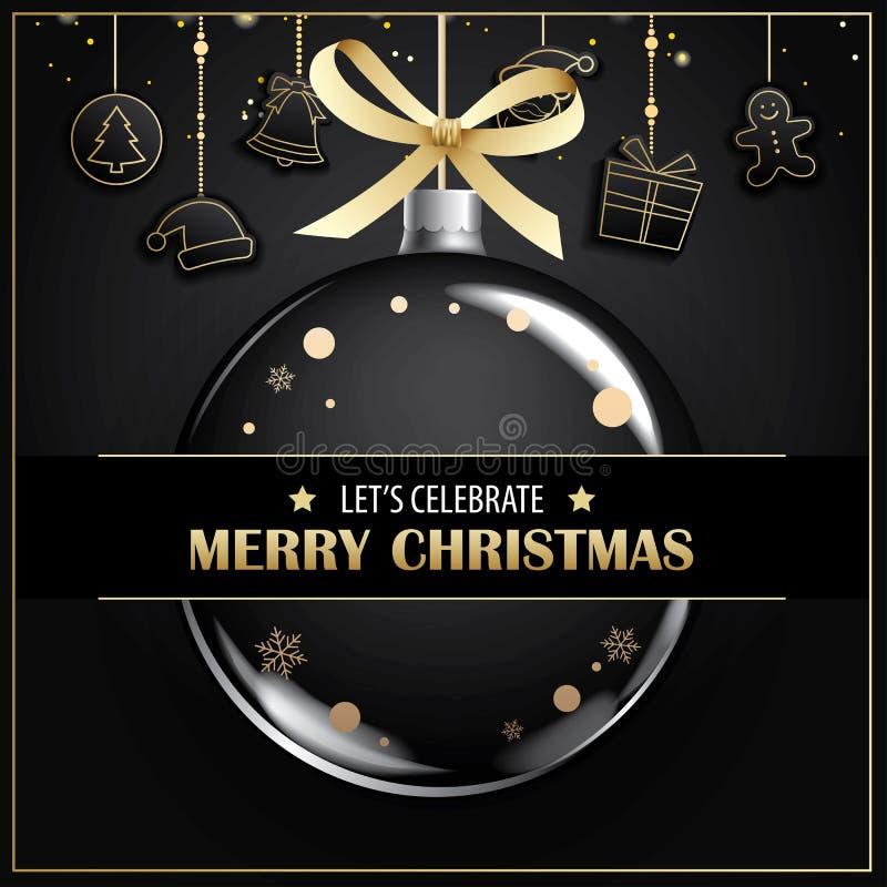 Invitations de carte de voeux et de partie de Joyeux Noël sur le noir illustration libre de droits