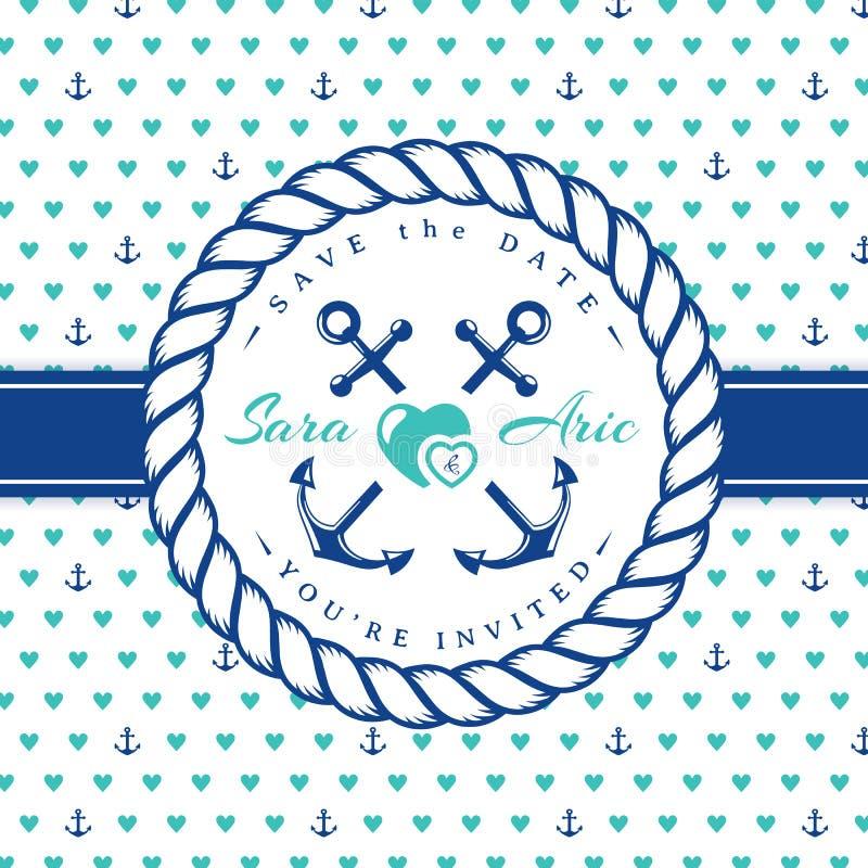 Invitations de mariage de mer illustration libre de droits