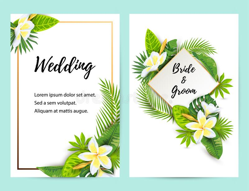 Invitations with jungle leaves, tropical flower plumeria. Vector illustration summer templates. Place for text. Great for SPA flyer, beauty offer, wedding royalty free stock photos