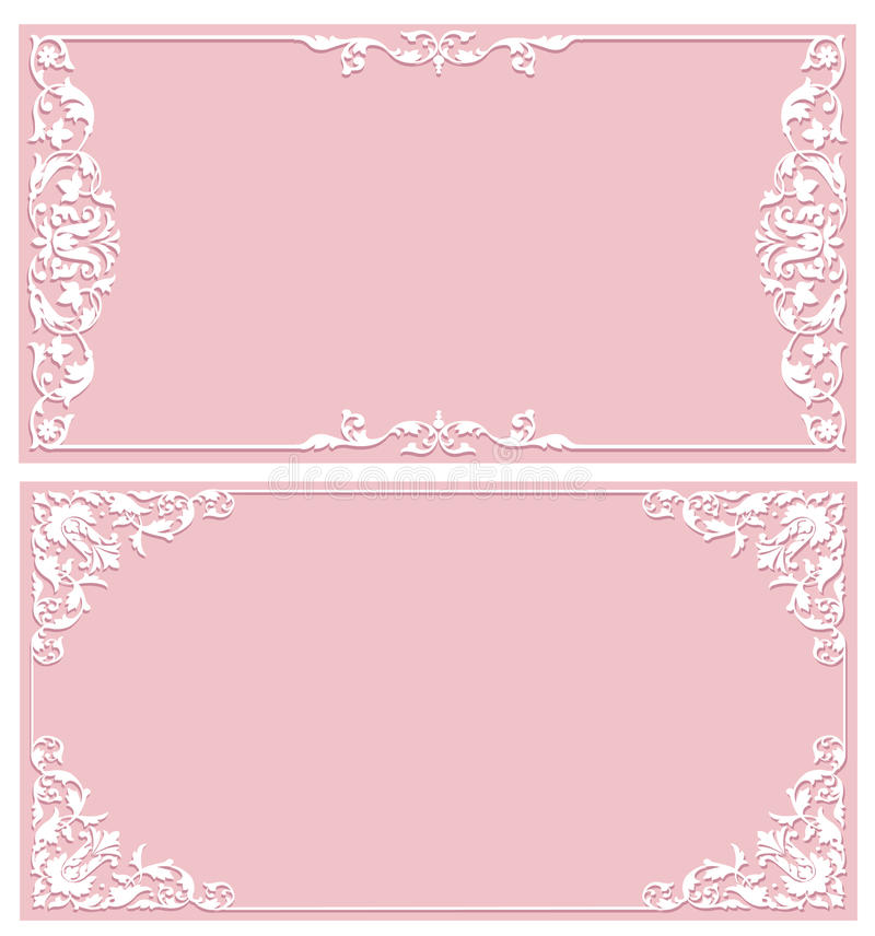 Invitations vintage carts. Set of vintage invitation card with patterned frame royalty free illustration