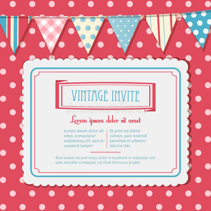 Invite And Bunting Background Landscape Stock Vector