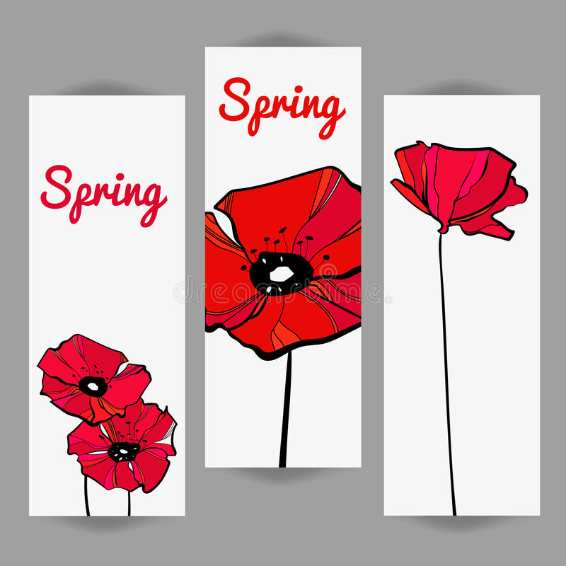 Invite cards with poppies royalty free stock photos