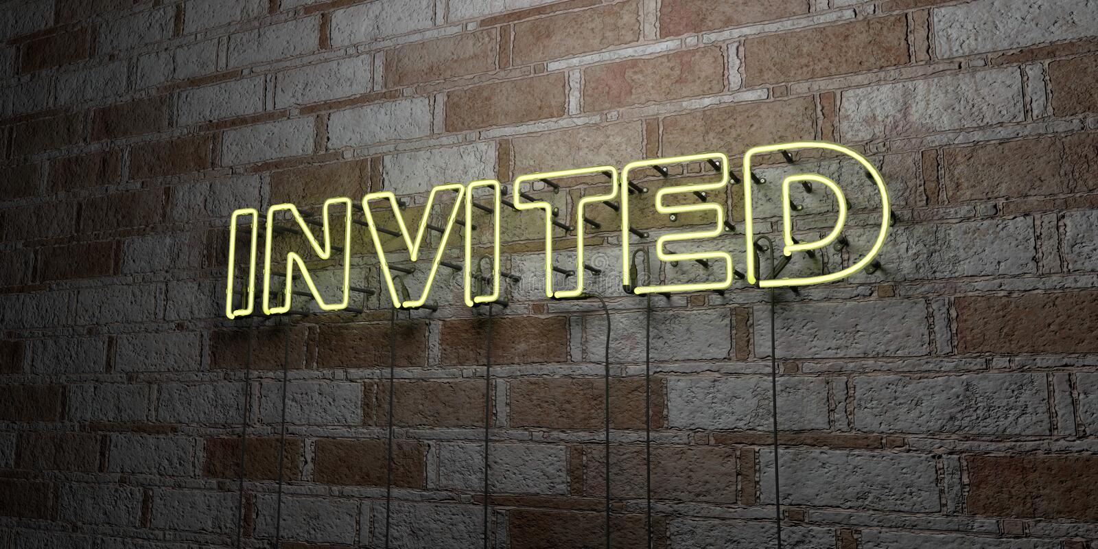 INVITED - Glowing Neon Sign on stonework wall - 3D rendered royalty free stock illustration royalty free illustration