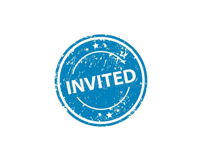 Invited stamp vector texture. Rubber cliche imprint. Web or print design element for sign, sticker, label stock illustration