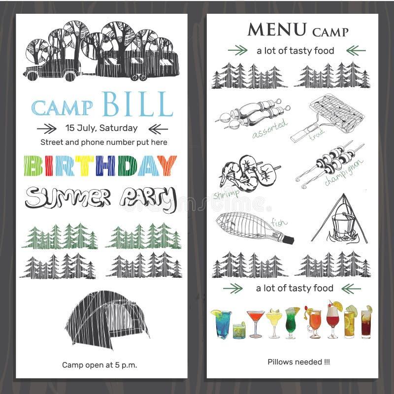 Invitera för barnfödelsedag i campa Mallbroschyr f stock illustrationer
