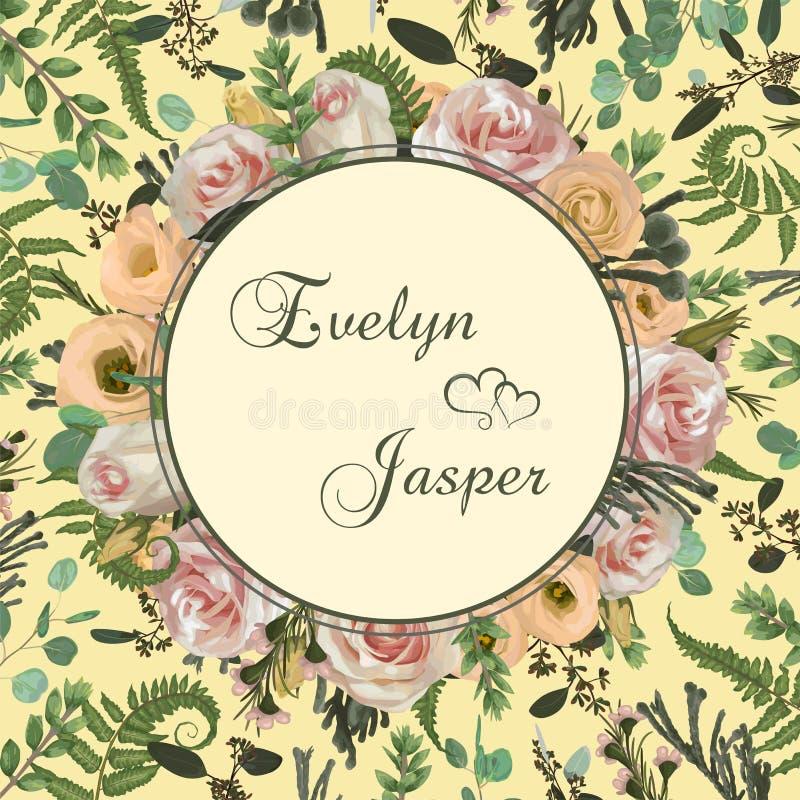 Invitera kortet, gifta sig den blom- inbjudan Vektor med blomma- och sidamodellbakgrund Rosa rosa blommor, eustomakräm, brunia vektor illustrationer