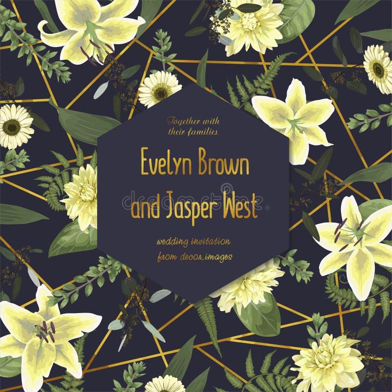 Invitera kortet, gifta sig den blom- inbjudan Vektorvattenfärg, gree stock illustrationer