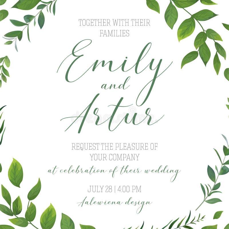 Invitera, spara datumkortet V, gifta sig den blom- grönskainbjudan royaltyfri illustrationer