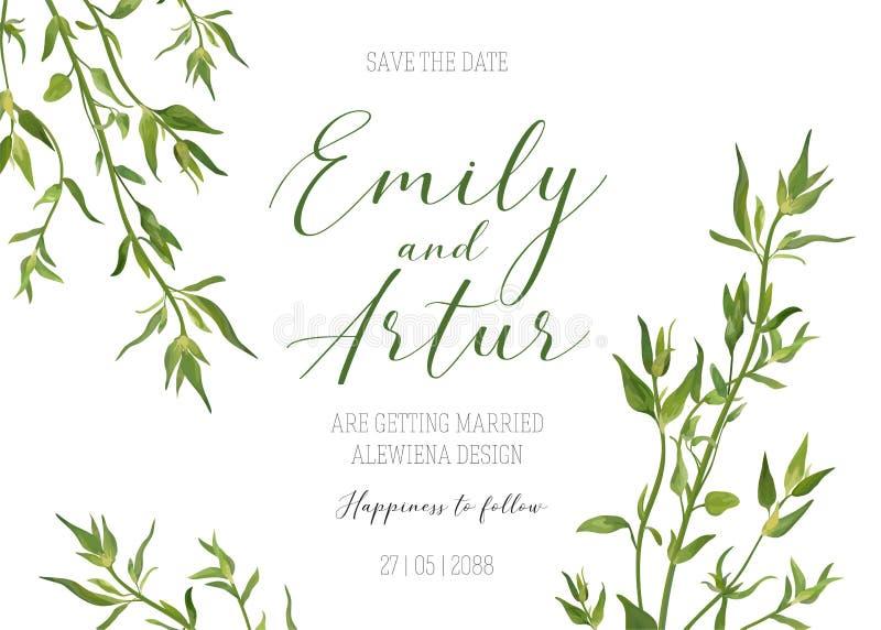 Invitera, spara datummallen, gifta sig den blom- inbjudan Vecto vektor illustrationer