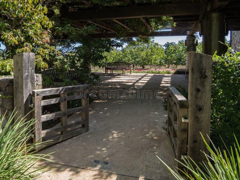 Inviterande trädgårds- uteplats arkivbild
