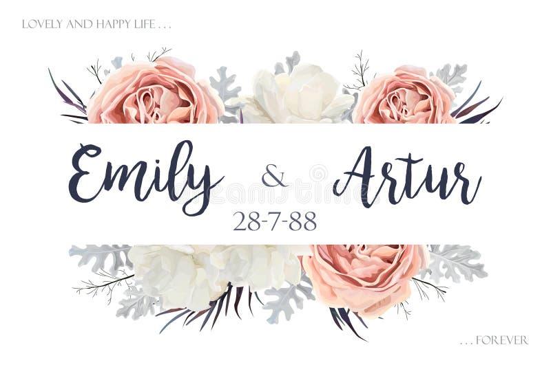 Inviterar sparar den blom- bröllopinbjudan för vektorn, desien för datumkortet vektor illustrationer