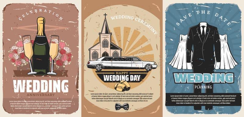 Inviti di cerimonia di matrimonio o manifesti di nozze illustrazione vettoriale