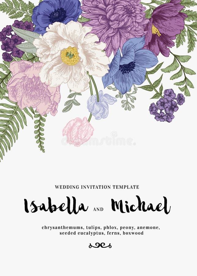 Inviti di nozze con i fiori di estate illustrazione vettoriale