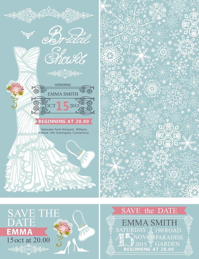 Inviti nuziali della doccia Cerimonia nuziale di inverno vestito royalty illustrazione gratis