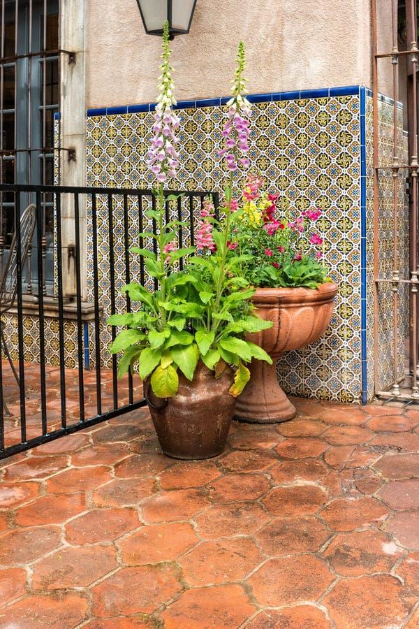 Inviting details, Tlaquepaque in Sedona, Arizona. Tlaquepaque architecture and landscaping, Sedona, Arizona stock photo