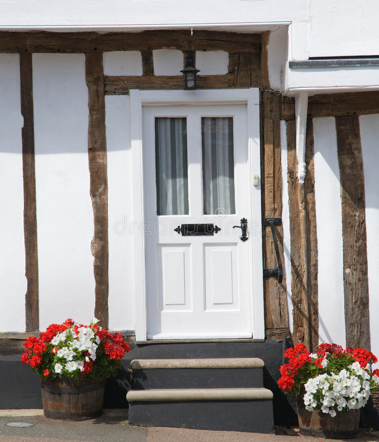 Download Inviting door stock image. Image of steep, cottage, white - 10587387