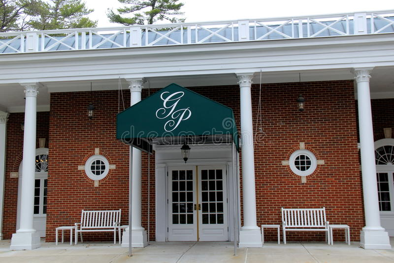Inviting front entrance to one of Saratoga`s premier hotels, The Gideon Putnam, New York, 2016. Beautiful entryway to one of Saratoga`s premier hotels, with stock photo