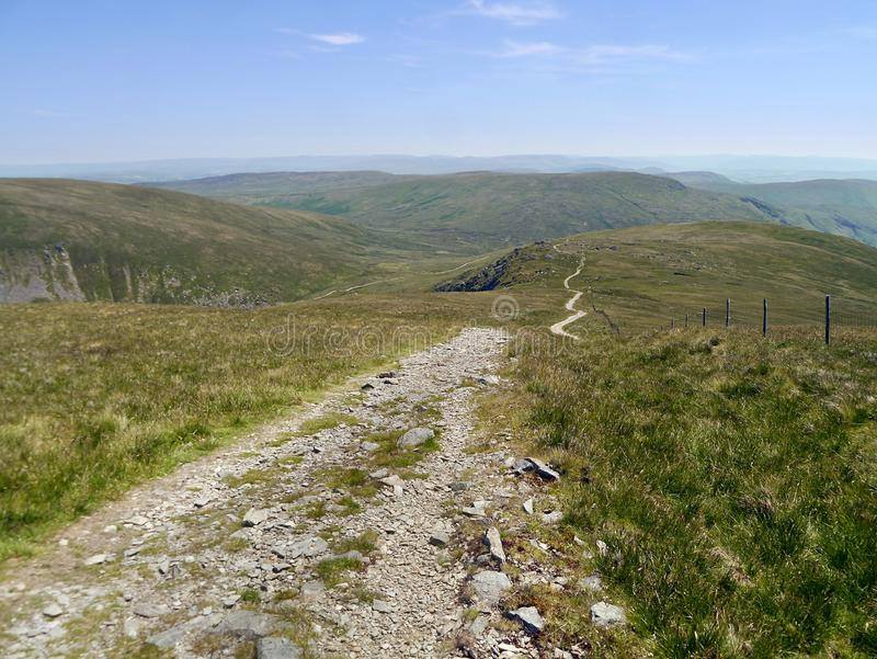 Nice winding path down to Adam Seat from Harter Fell royalty free stock images