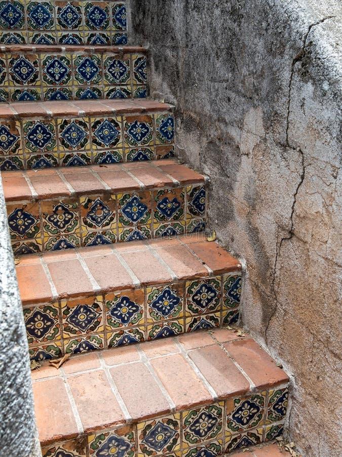 Inviting stairway, Tlaquepaque in Sedona, Arizona. Beautiful tiled steps,Tlaquepaque Village in Sedona, Arizona stock photography
