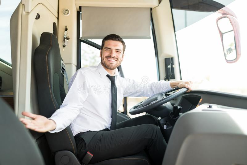 Inviting You To Get Into The Bus stock photography