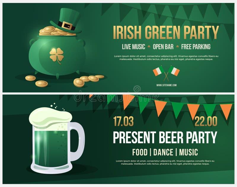 Invito al giorno di festa di St Patrick Opuscolo con l'immagine della pinta di birra con schiuma bianca illustrazione vettoriale