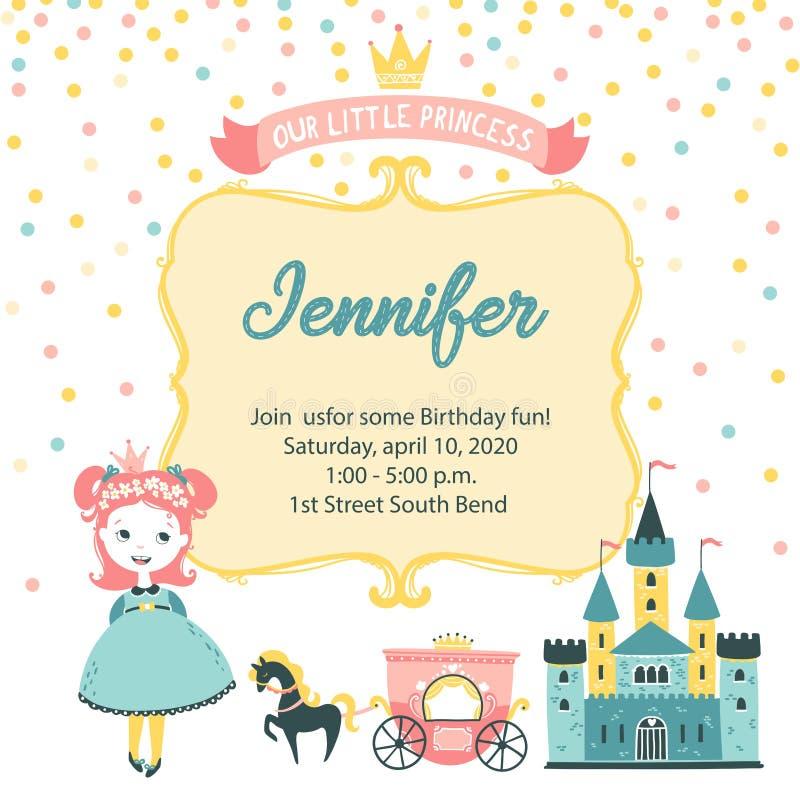 Invito alla festa della principessa Striscione grazioso della cartolina di auguri fino al compleanno di una ragazza con un castel illustrazione vettoriale