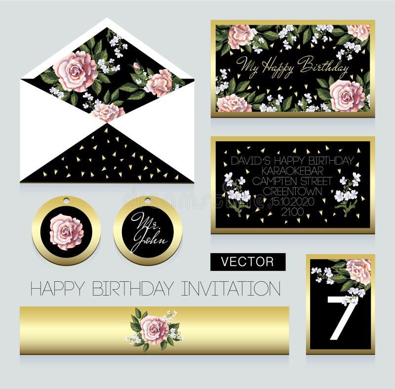 Invito alla festa di compleanno, ad una busta, ad un numero di stanza per una tavola e ad altri Progettazione con le rose rosa illustrazione vettoriale