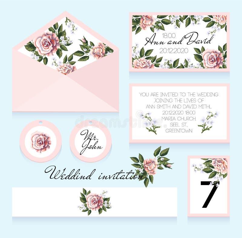 Invito alle nozze, ad una busta, ad un numero di stanza per una tavola e ad altri Progettazione con le rose illustrazione di stock