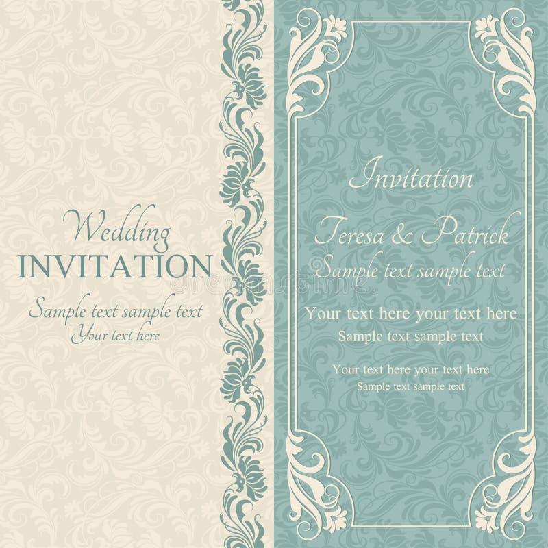 Invito, blu e beige barrocco di nozze illustrazione di stock