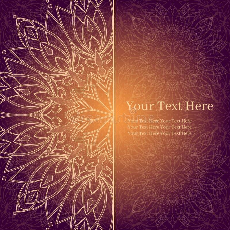 Invito, carta, libretto con la mandala di incandescenza Elemento geometrico del cerchio illustrazione vettoriale
