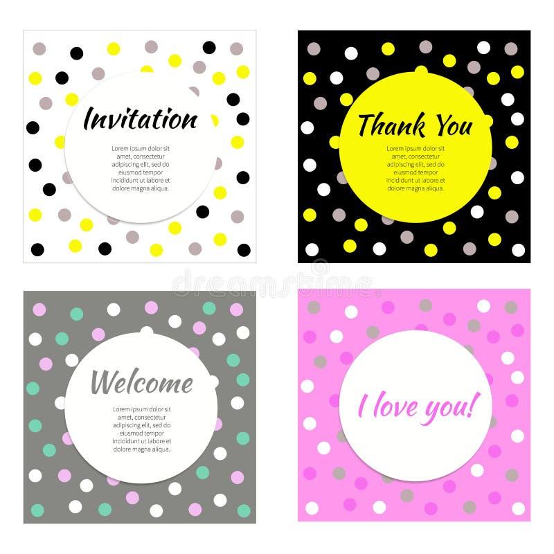 Invito, cartoline d'auguri illustrazione di stock