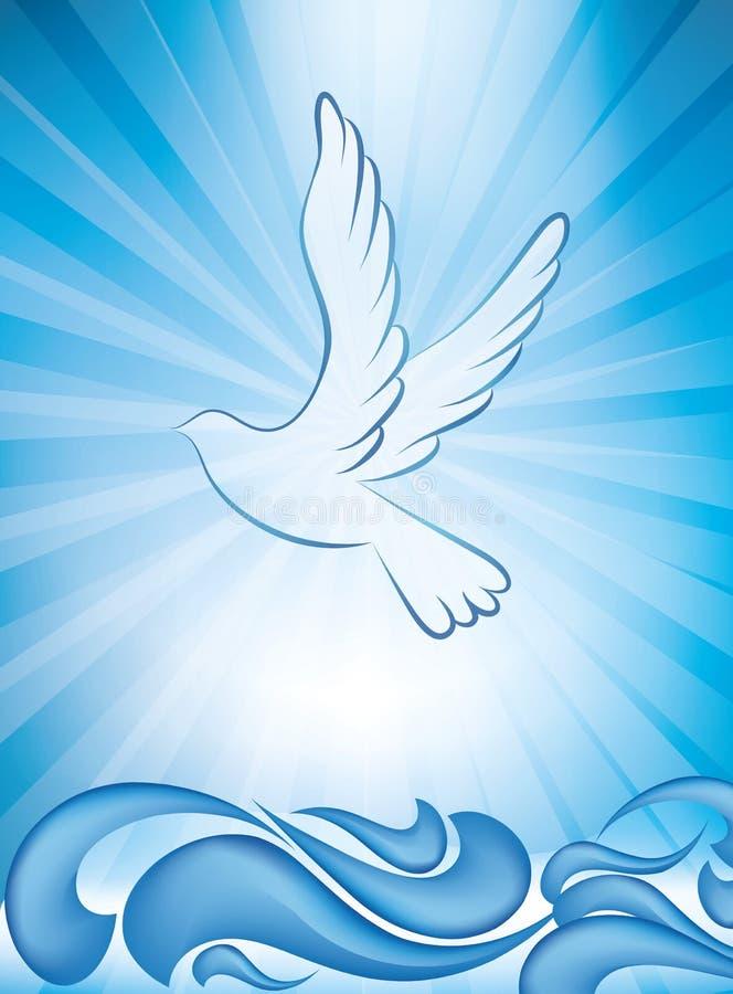 Invito cristiano di battesimo - cartolina d'auguri di battesimo con la colomba e le onde di acqua su fondo blu illustrazione vettoriale