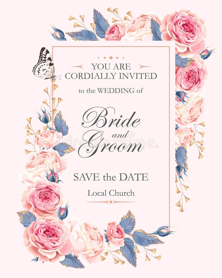 Invito d'annata di nozze illustrazione di stock