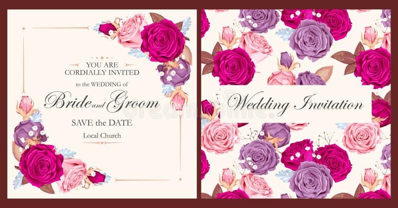 Invito d'annata di nozze illustrazione vettoriale