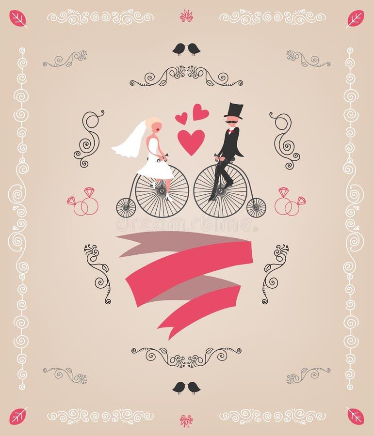 Invito d'annata di nozze di vettore retro, mano illustrazione di stock