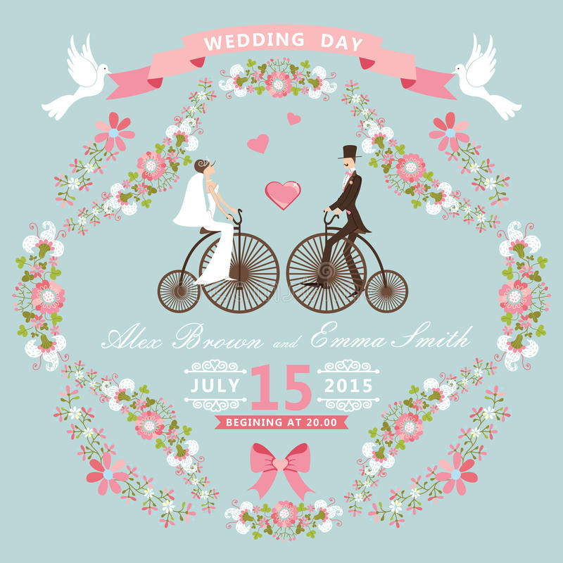 Invito d'annata di nozze Struttura floreale, sposa, gr illustrazione di stock