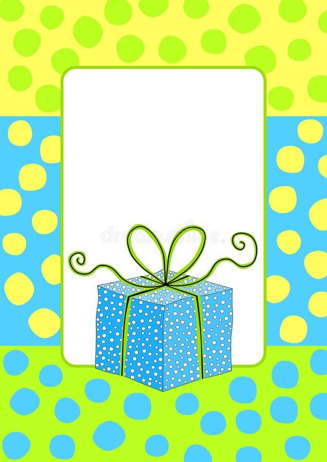 Invito del biglietto di auguri per il compleanno con un contenitore di regalo illustrazione vettoriale