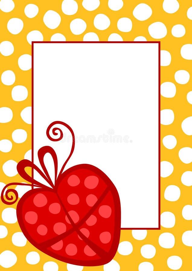 Invito del biglietto di auguri per il compleanno con un regalo del cuore illustrazione vettoriale